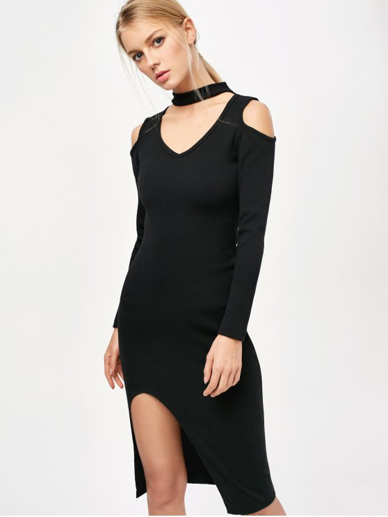 sale Cold Shoulder Choker Bodycon Dress - BLACK ONE SIZE