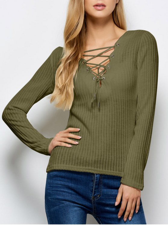 Ribbed Knit Lace Up Jumper - ARMY GREEN M Mobile