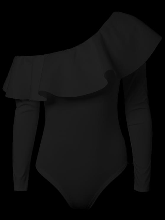 Ruffles Long Sleeve Skinny Bodysuit - BLACK S Mobile