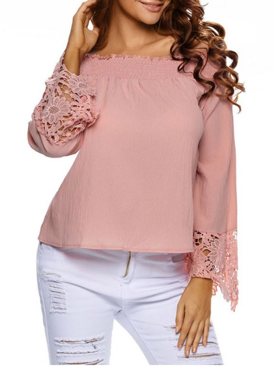 Lace Cuff Off The Shoulder Blouse - PAPAYA S Mobile
