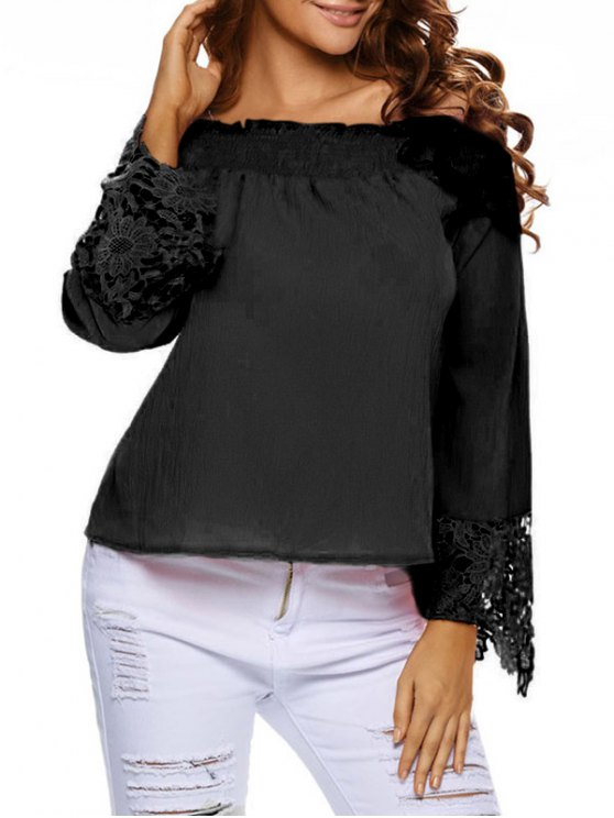Lace Cuff Off The Shoulder Blouse - BLACK L Mobile