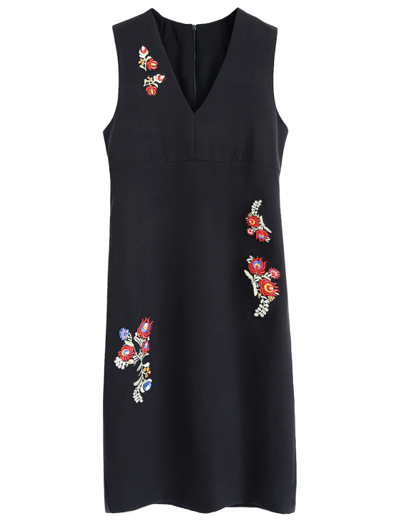 Slit Floral Embroidered Straight Dress - BLACK S Mobile