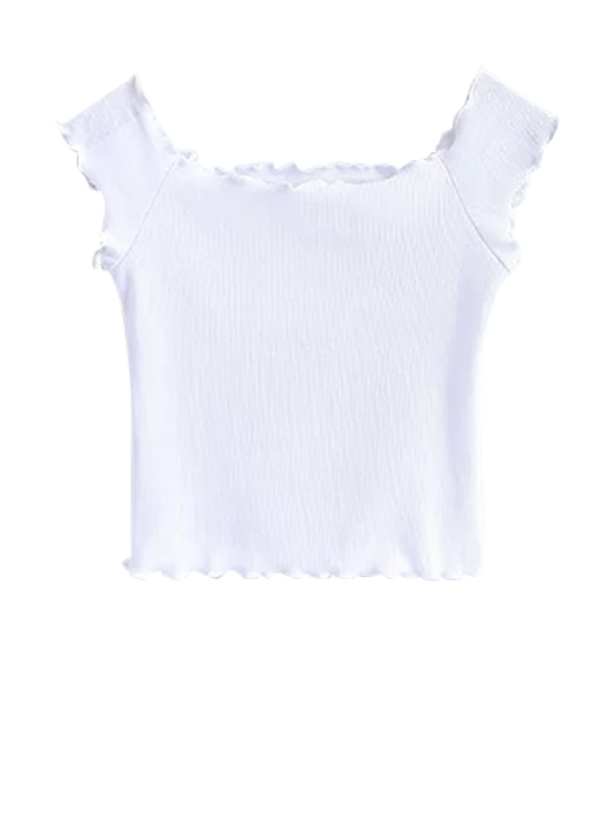 Off Shoulder Ruffles Crop Top - WHITE S Mobile