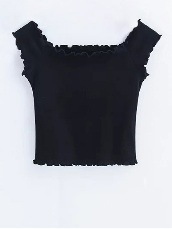 Off Shoulder Ruffles Crop Top - BLACK M Mobile