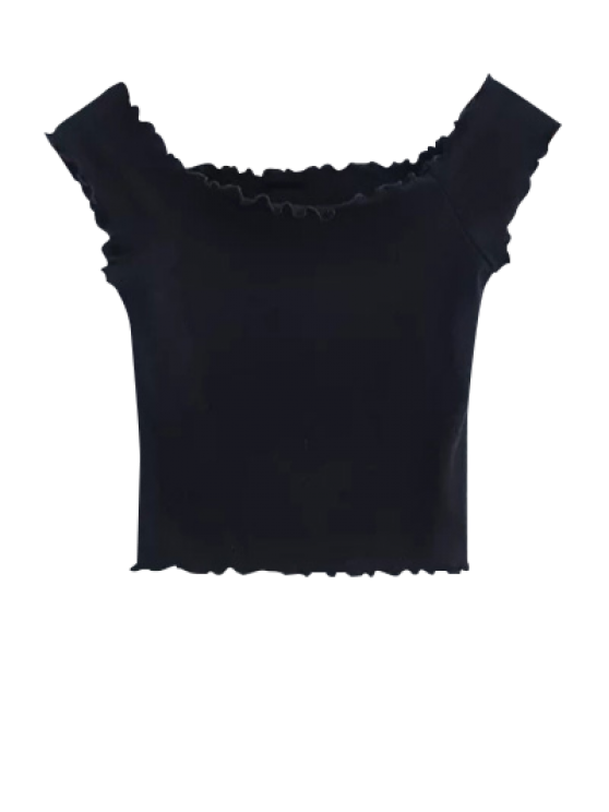 Off Shoulder Ruffles Crop Top - BLACK S Mobile