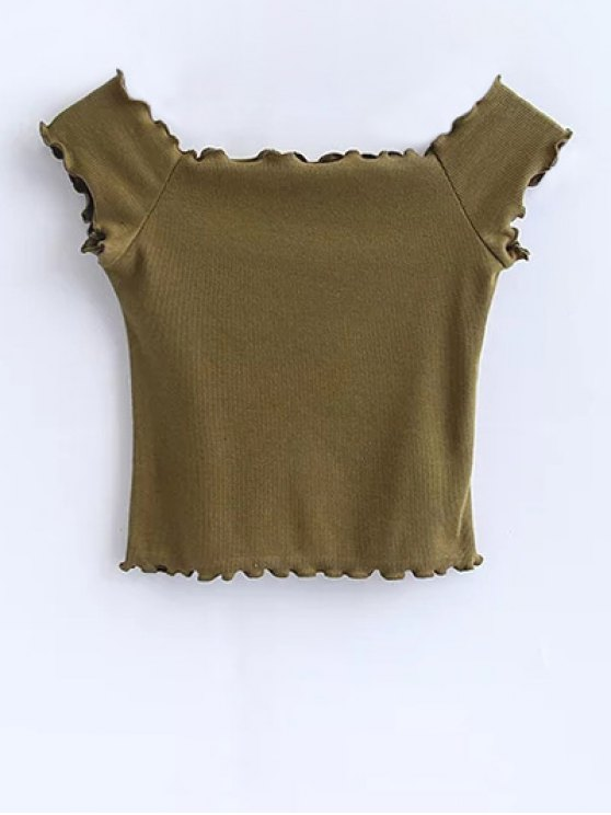 Off Shoulder Ruffles Crop Top - ARMY GREEN S Mobile