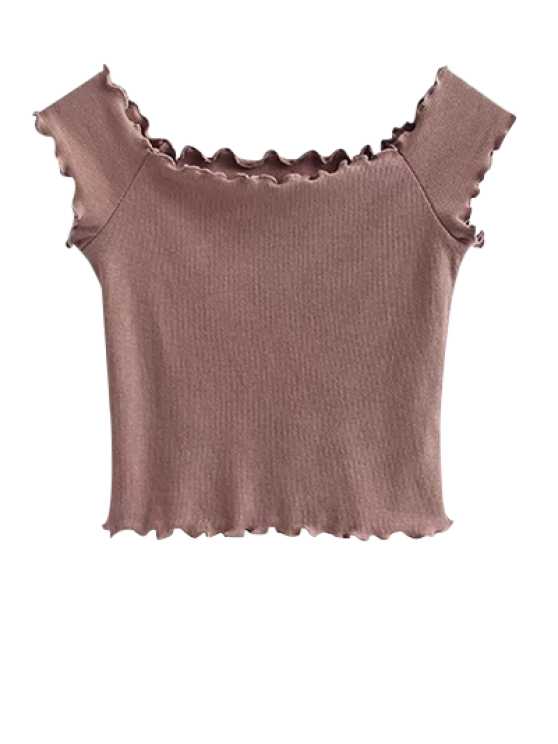Off Shoulder Ruffles Crop Top - PALE PINKISH GREY M Mobile