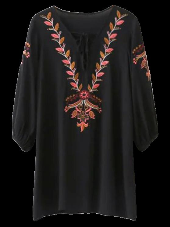 Bordado ata para arriba el mini vestido de la túnica - Negro L