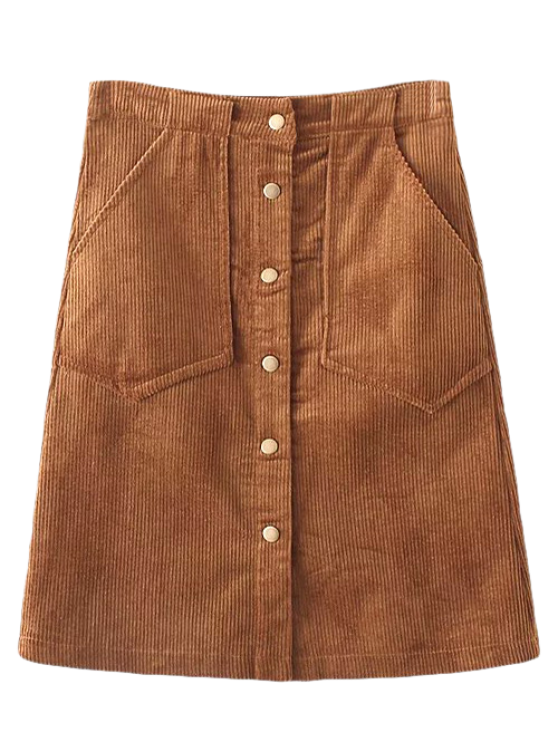 trendy High Waist Single Breasted A-Line Skirt - BROWN S