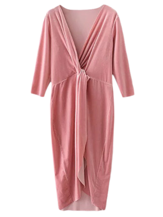 Asymmetric Velvet Midi Wrap Dress - PINK S Mobile