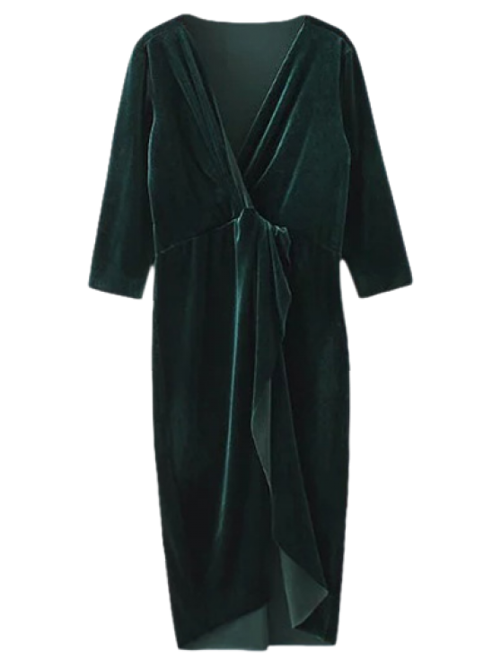 online Asymmetric Velvet Midi Wrap Dress - BLACKISH GREEN M