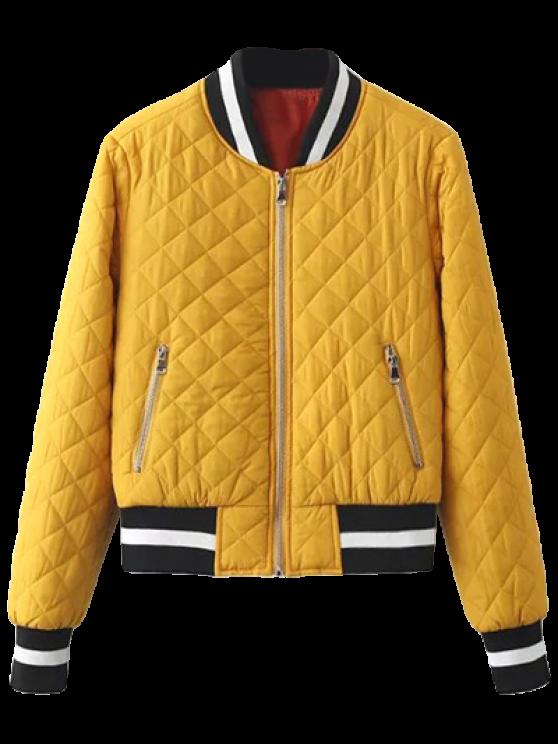Zip Up Padded Pilot Jacket - YELLOW M Mobile