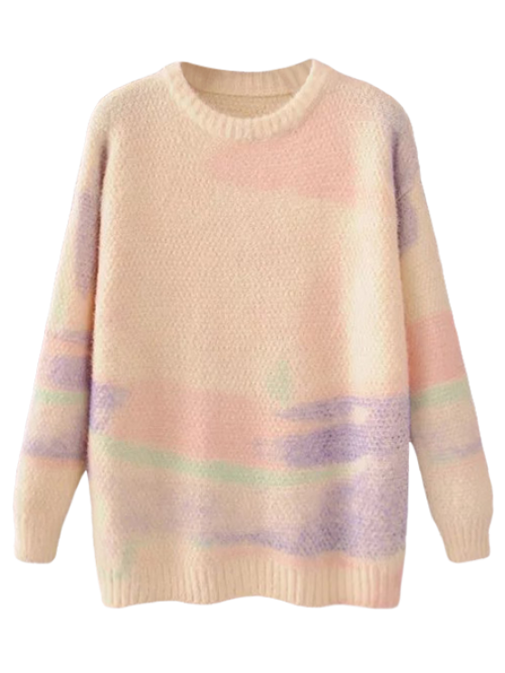 Oversized Space Dye Sweater - PINK ONE SIZE Mobile
