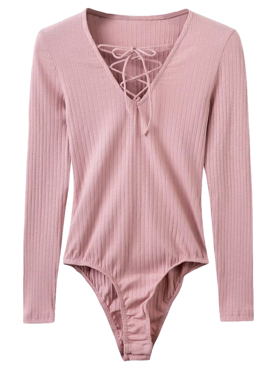 women's Skinny Ribbed Lace Up Bodysuit - PINK M