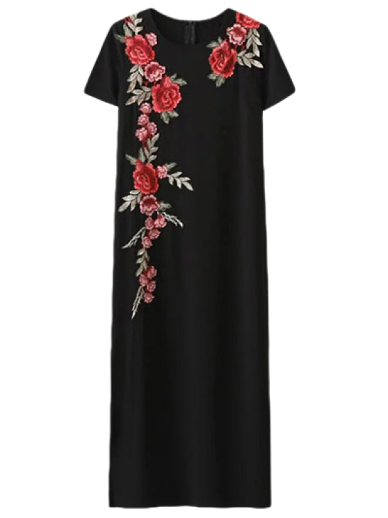 Side Slit Floral Embroidered Dress - BLACK S Mobile