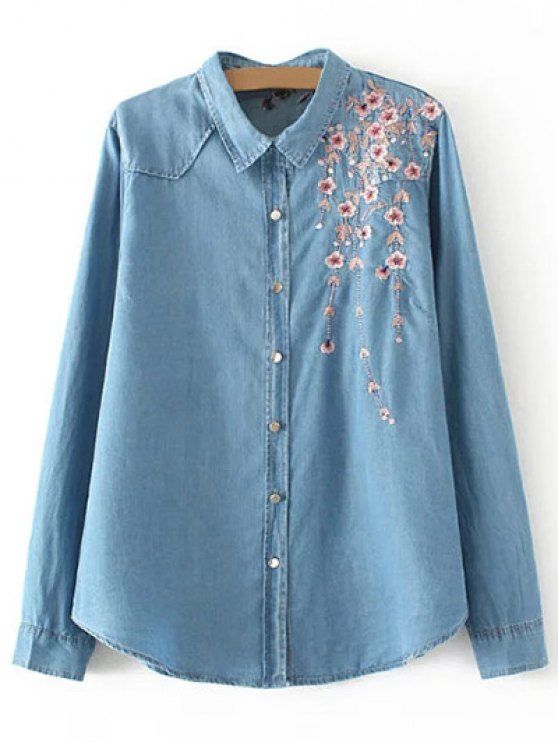 Palm Blossom Embroidered Plus Size Denim Shirt - DENIM BLUE 3XL Mobile