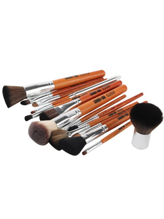 15 Pcs Portable Makeup Brushes Set - SILVER  Mobile