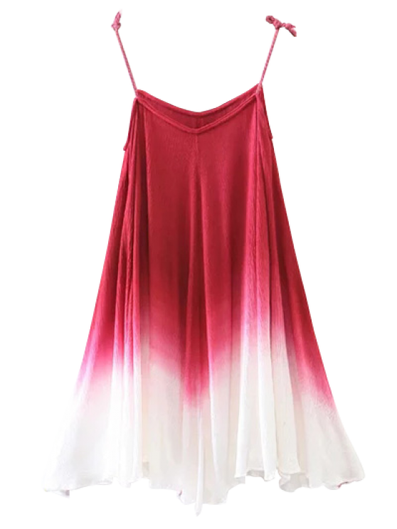 Ombre Trapeze Slip Dress - RED S Mobile