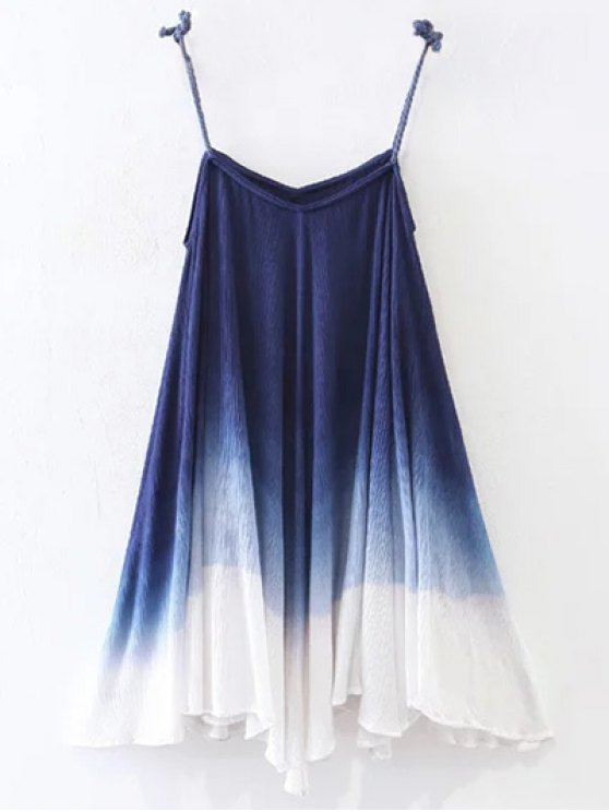 Ombre Trapeze Slip Dress - PURPLISH BLUE S Mobile