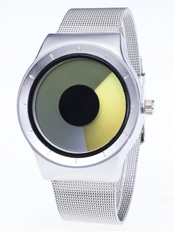 Metal Mesh Ombre Quartz Watch - YELLOW  Mobile