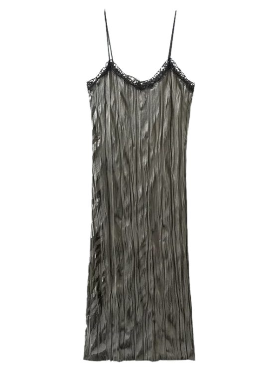 shops Crushed Velvet Slip Dress - GREY OLIVE S