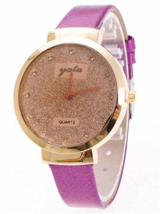 Rhinestone Glitter Quartz Watch - PURPLE  Mobile