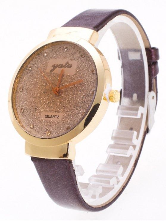 Rhinestone Glitter Quartz Watch - COFFEE  Mobile