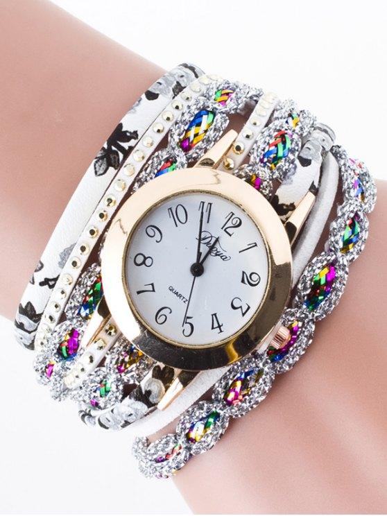Rhinestone Wrap Bracelet Watch - WHITE  Mobile