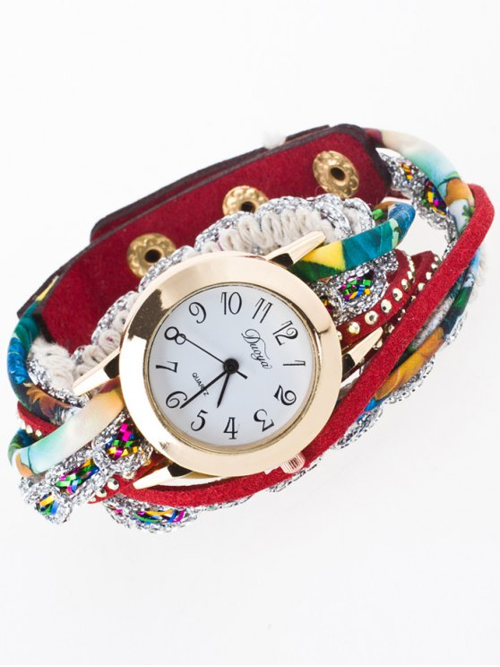 Rhinestone Wrap Bracelet Watch - RED  Mobile