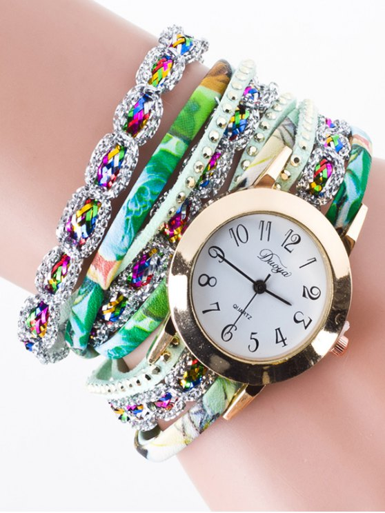 Rhinestone Wrap Bracelet Watch - GREEN  Mobile