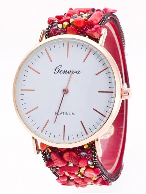 Faux Stone Studded Analog Watch - RED  Mobile