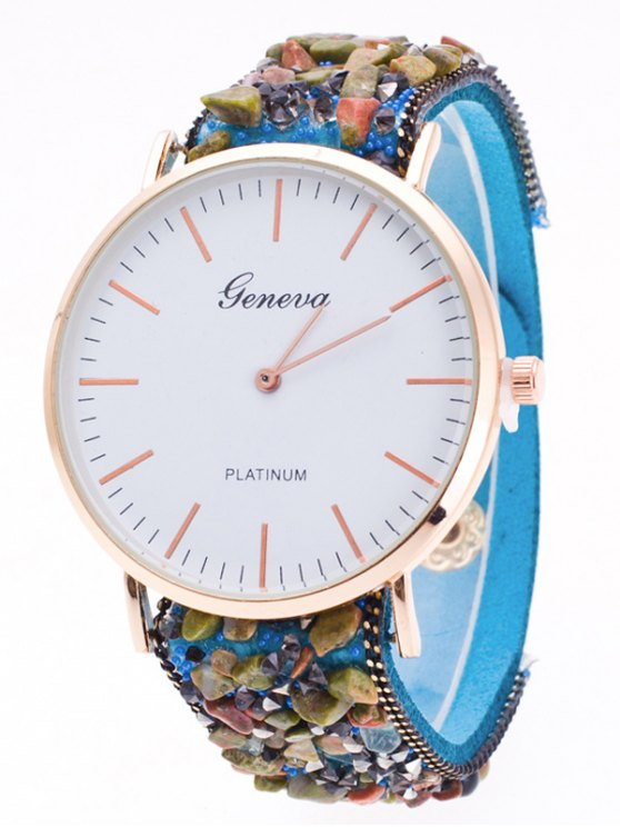 Faux Stone Studded Analog Watch - AZURE  Mobile