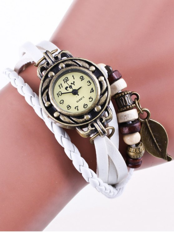 Faux Leather Strand Bracelet Watch - WHITE  Mobile