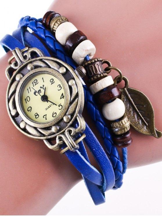 Faux Leather Strand Bracelet Watch - BLUE  Mobile