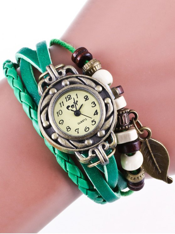 Faux Leather Strand Bracelet Watch - GREEN  Mobile