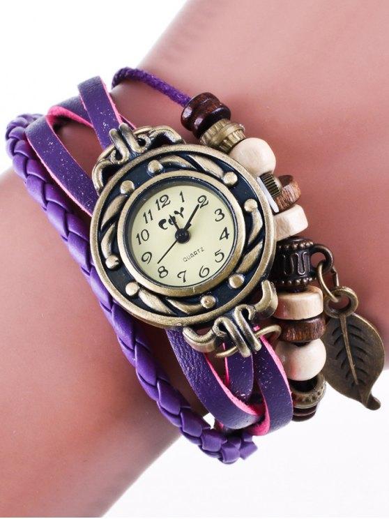 Faux Leather Strand Bracelet Watch - PURPLE  Mobile