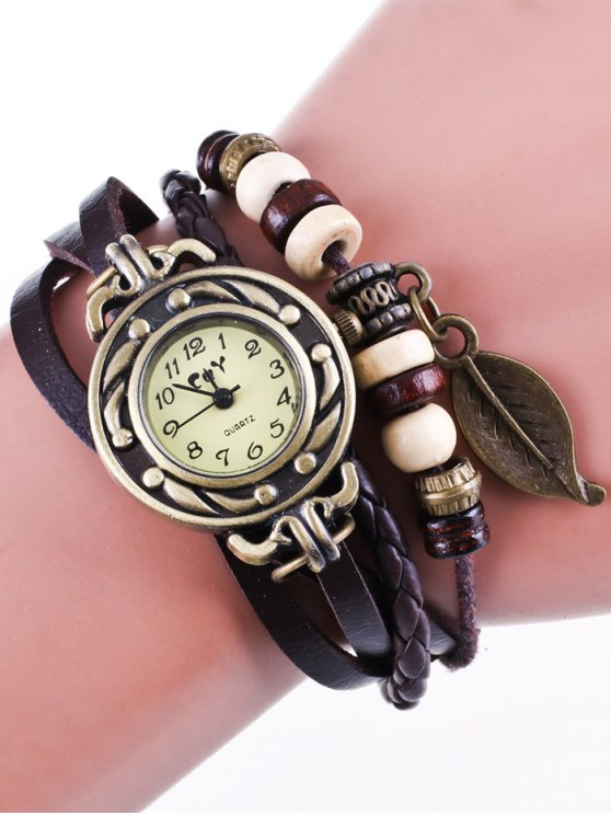 Faux Leather Strand Bracelet Watch - COFFEE  Mobile