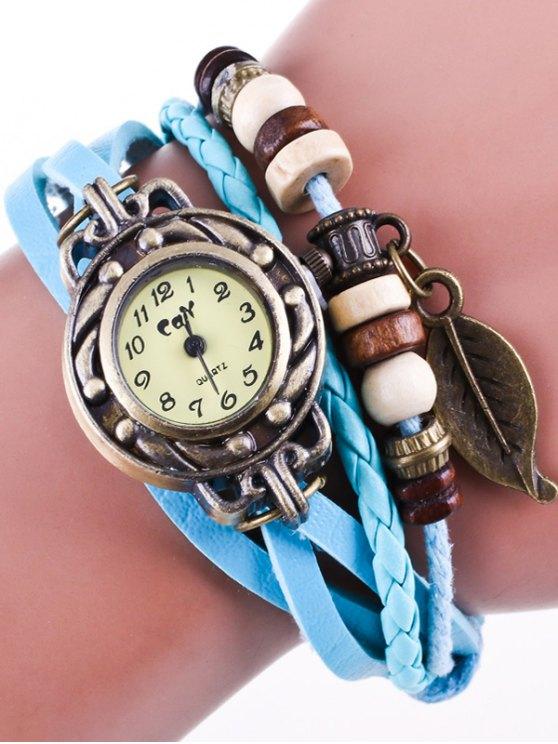 Faux Leather Strand Bracelet Watch - AZURE  Mobile