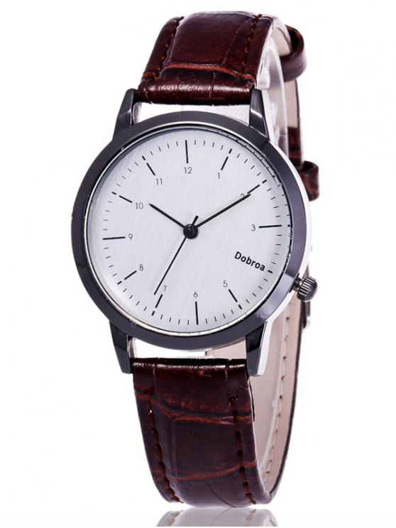 Faux Leather Analog Wrist Watch - WHITE  Mobile