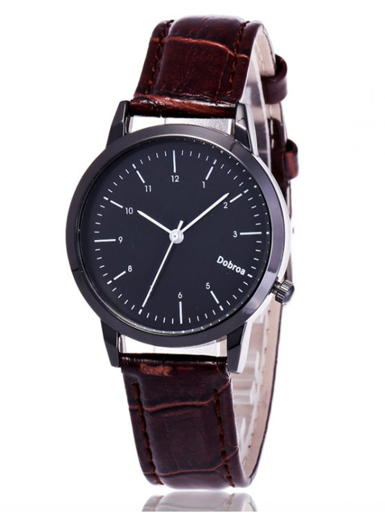 Faux Leather Analog Wrist Watch - COFFEE  Mobile