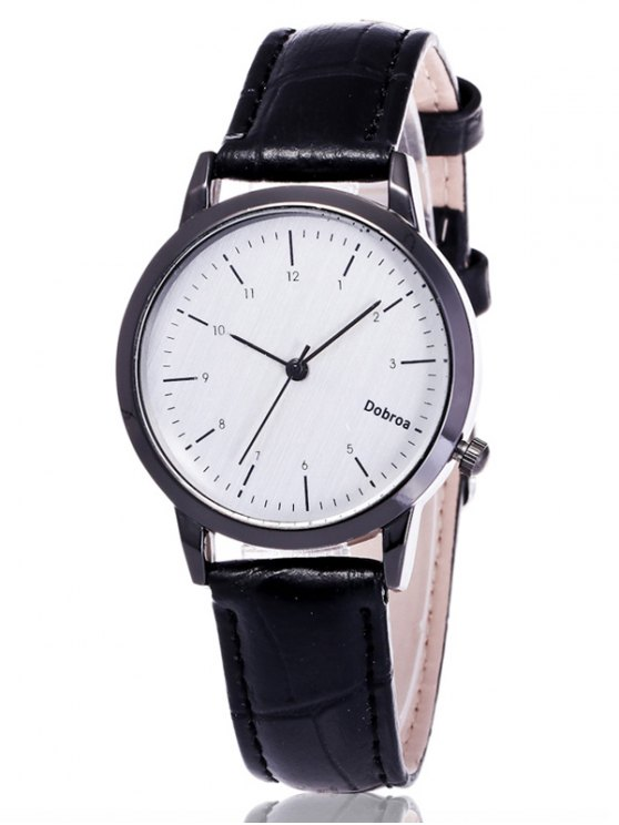Faux Leather Analog Wrist Watch - WHITE AND BLACK  Mobile