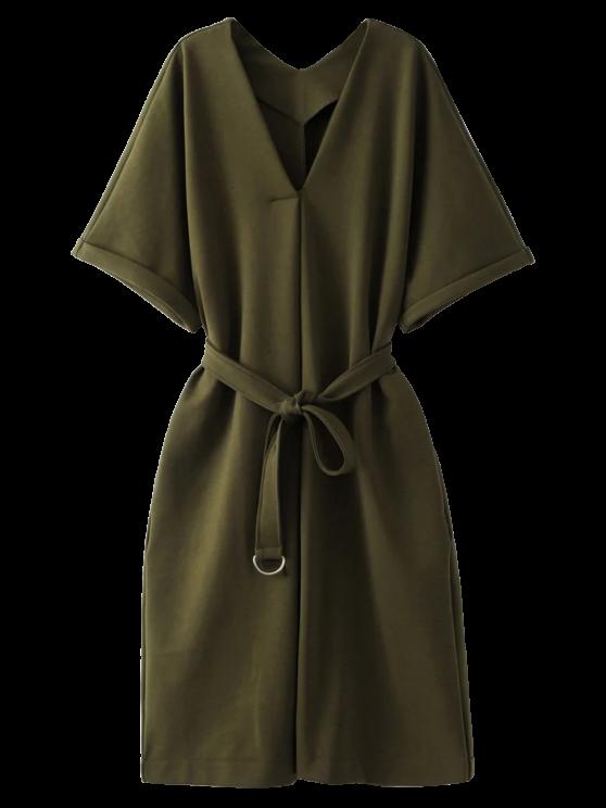 ladies Tie Waist Kimono Sleeve Work Dress - ARMY GREEN S