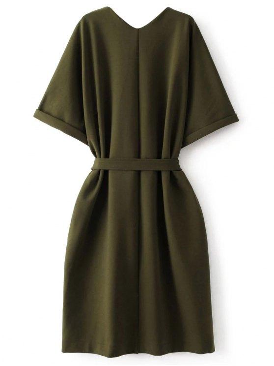 Tie Waist Kimono Sleeve Work Dress - ARMY GREEN L Mobile