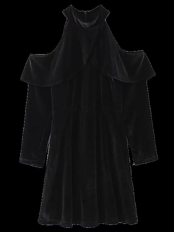 latest Cold Shoulder Ruffles Velour Dress - BLACK S