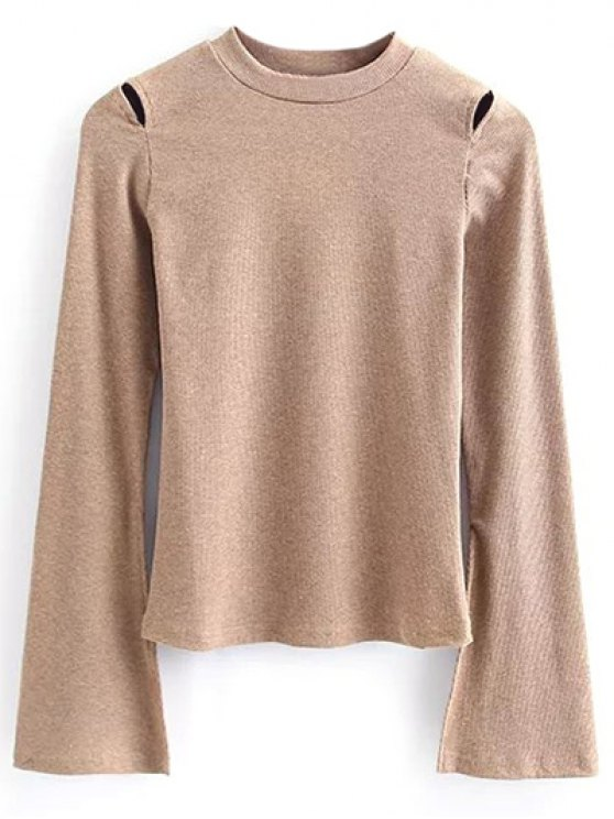 Flare Sleeve Cut Out Ribbed Knitwear - KHAKI S Mobile