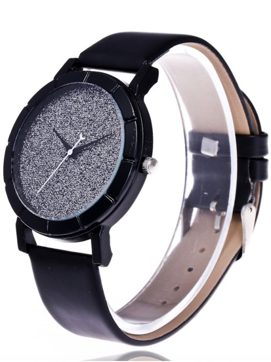 Faux Leather Glitter Analog Watch - BLACK  Mobile