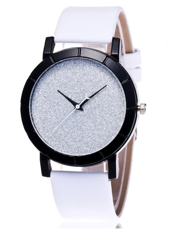 Faux Leather Glitter Analog Watch - WHITE  Mobile