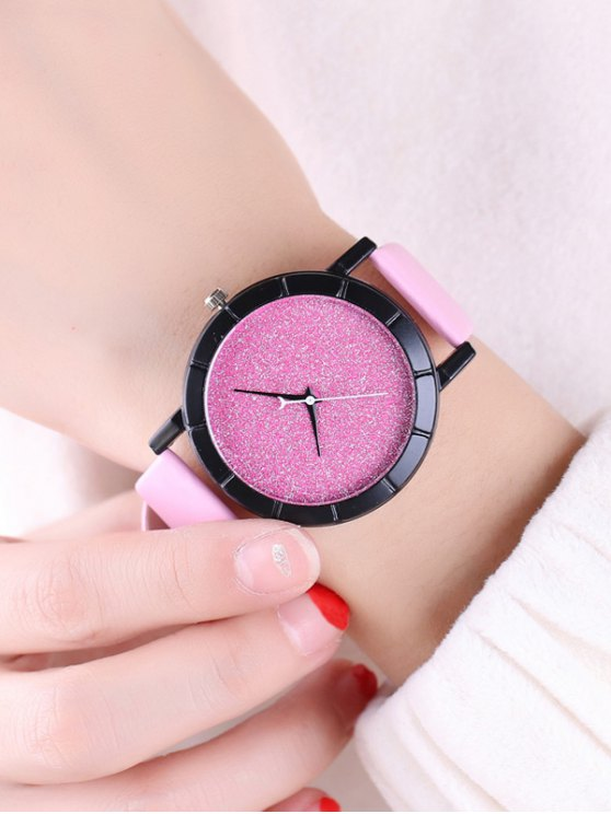 Faux Leather Glitter Analog Watch - PINK  Mobile