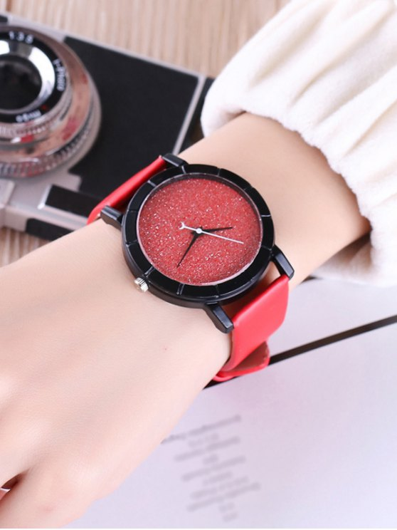 Faux Leather Glitter Analog Watch - RED  Mobile