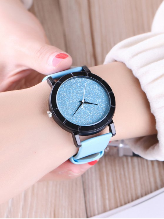 Faux Leather Glitter Analog Watch - BLUE  Mobile